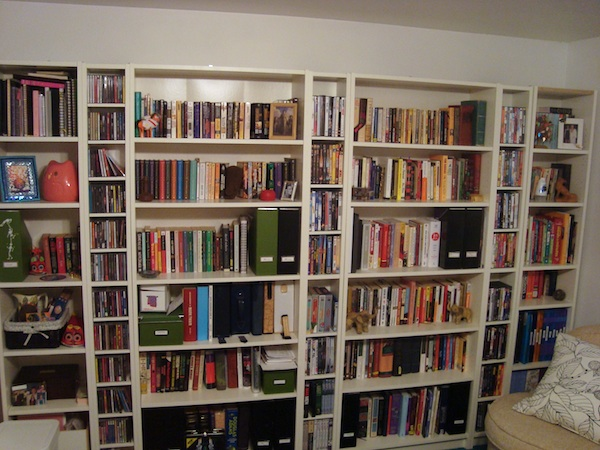 The wall of books awaiting me at home in Maryland