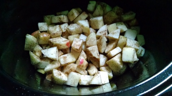 Chopped apples with cinnamon